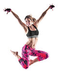 Woman fitness boxing pilates excercises isolated royalty free stock photo