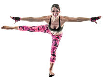 Woman fitness boxing pilates excercises isolated Stock Images
