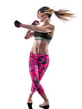 Woman fitness boxing pilates excercises isolated Stock Photography