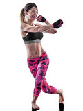 Woman fitness boxing pilates piloxing excercises isolated. One caucasian woman exercising fitness boxing pilates piloxing excercises in studio isolated on white Royalty Free Stock Photos