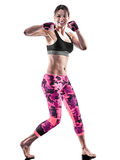 Woman fitness cardio boxing pilates excercises  Royalty Free Stock Photos