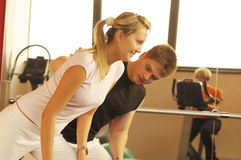 The woman in fitness centre Royalty Free Stock Photos
