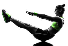 Woman fitness  crunches exercises silhouette Royalty Free Stock Photo
