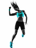 Woman fitness dancing exercises silhouette Royalty Free Stock Photography