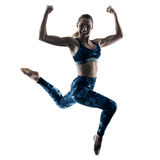 Woman fitness excercises jumping silhouette Royalty Free Stock Images