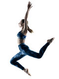 Woman fitness excercises jumping silhouette Royalty Free Stock Photos
