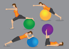 Woman Fitness Exercise Workout with Gym Ball Royalty Free Stock Images