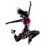 Woman fitness exercises dancer dancing isolated silhouette Royalty Free Stock Images