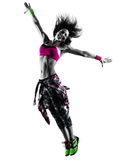 Woman fitness exercises dancer dancing isolated silhouette Stock Photography