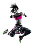 Woman fitness exercises dancer dancing isolated silhouette Stock Photos