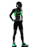 Woman fitness exercises standing silhouette Stock Photography