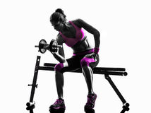 Woman fitness exercises weights silhouette Stock Photo