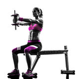 Woman fitness exercises weights silhouette Royalty Free Stock Photo