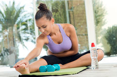 Woman Fitness Exercising Stock Images