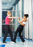 Woman at fitness fighting training Royalty Free Stock Photography