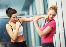Woman at fitness fighting training Royalty Free Stock Images