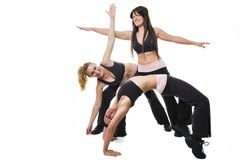 Woman fitness group. Group of young woman isolaed on white exercising fitness Royalty Free Stock Photo