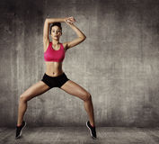 Woman Fitness Gymnastic Exercise, Sport Young Girl Fit Dance. Modern Aerobic Dancer, Grunge Wall royalty free stock photography