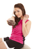 Woman fitness hand donut keep apple Royalty Free Stock Image