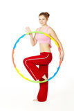 Woman fitness instructor holding hula hoop Stock Images