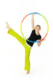 Woman fitness instructor holding hula hoop Stock Image