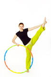 Woman fitness instructor holding hula hoop Stock Photography