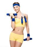 Woman fitness  lifting weights Royalty Free Stock Photos
