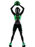 Woman fitness Medicine Ball exercises silhouette Royalty Free Stock Images
