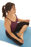 Woman fitness meditate up angle Stock Photo