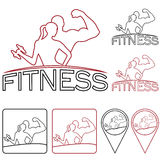 Woman of fitness outline silhouette character,icons and Royalty Free Stock Photo