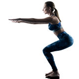 Woman fitness pilates excercises silhouette Royalty Free Stock Images