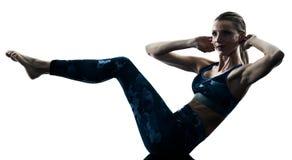Woman fitness pilates excercises silhouette Stock Photos