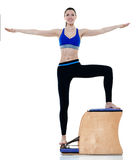 Woman fitness pilates exercices isolated Stock Photo
