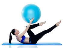 Woman fitness pilates exercices isolated Stock Images