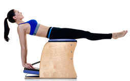 Woman fitness pilates exercices isolated Royalty Free Stock Image