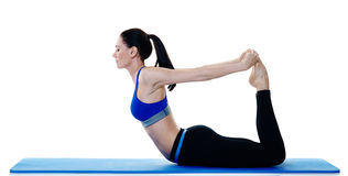Woman fitness pilates exercices isolated Royalty Free Stock Images