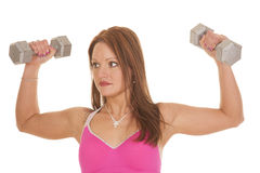 Woman fitness pink bra flx weights Royalty Free Stock Photography