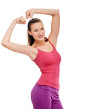 Woman fitness portrait. showing biceps Royalty Free Stock Image