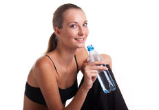 Woman in fitness pose Stock Images