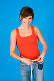 Woman at fitness programm Stock Images