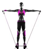 Woman fitness resistance bands exercises Stock Images