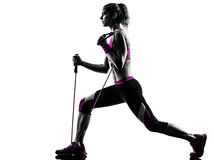 Woman fitness resistance bands exercises Royalty Free Stock Photos