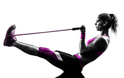 Free Woman Fitness Resistance Bands Exercises Silhouette Royalty Free Stock Images - 49693959
