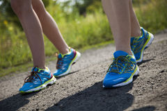 Woman fitness, Runner feet running Stock Image