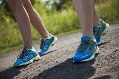 Woman fitness, Runner feet running Stock Image