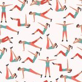 Woman Fitness Seamless Pattern. Royalty Free Stock Photography