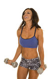 Woman fitness shorts and bra curl laugh Stock Photography