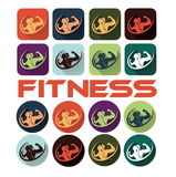 Woman of fitness silhouette character flat design icon s Stock Photos