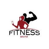 woman of fitness silhouette character make selfie vector Royalty Free Stock Image