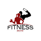 woman of fitness silhouette character make selfie vector Stock Images